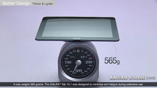 Samsung Galaxy Tab 750 10.1 weighs 565 grams